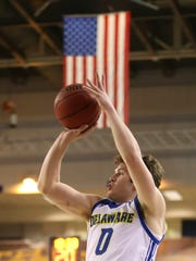 Delaware's Ryan Daly takes a shot in a game at the Carpenter Center against Elon.