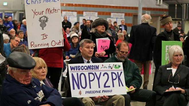 About 300 people showed up this week to voice disapproval of a  plan to collect parking fees at Milwaukee County parks and parkways. A public meeting was held at the Mitchell Park Domes Annex.