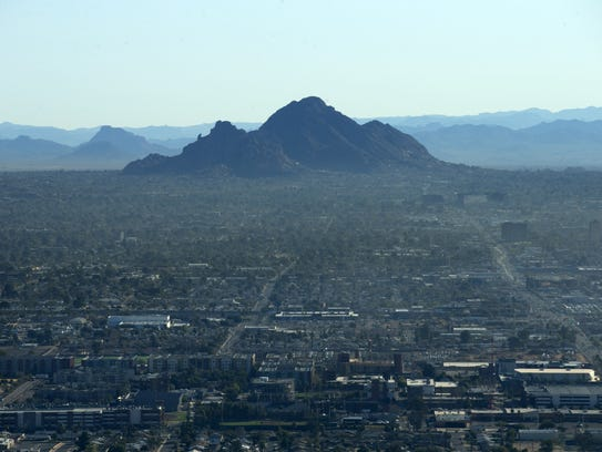 """Camelback Mountain in Phoenix as seen from the """"Snoopy"""