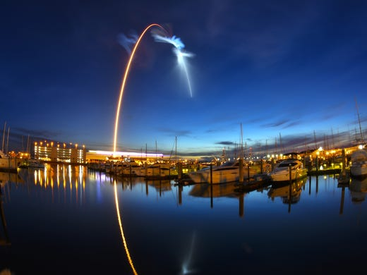 Launch of a SpaceX Falcon 9 rocket during a replenishment mission