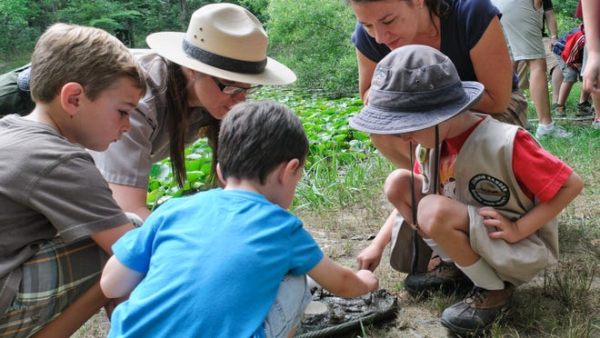 A park ranger helps a youngsters exoplore nature in the Cuyahoga Valley National Park.