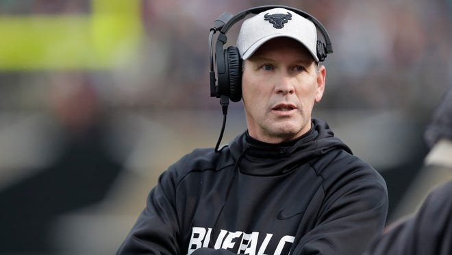 Buffalo coach Lance Leipold walks the sideline of a game earlier this season.