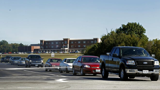 Traffic congestion outside Republic High School in Republic, Mo. on Oct. 1, 2015. The school building sits in between two congested highways, leading to numerous safety concerns for students and motorists.