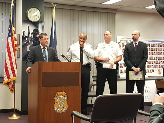 """IMPD Deputy Chief Bill Lorah discusses a drug ring bust targeting """"Pond's Army,"""" a gang operating on the Northwestside"""