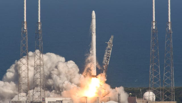 A SpaceX Falcon 9 rocket and Dragon capsule blasted off from Cape Canaveral Air Force Station at 4:10 p.m. today.