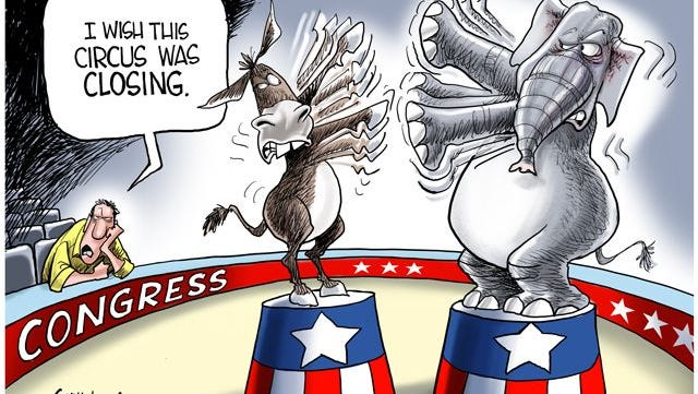 Political circus in Washington DC commentary from Gary Varvel.  Follow Gary Varvel on Twitter @varvel and like him on Facebook.