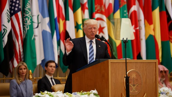 President Trump delivers a speech to the Arab Islamic
