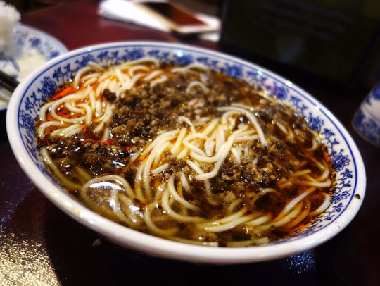 Sichuan noodles in chile sauce at Tang Dynasty