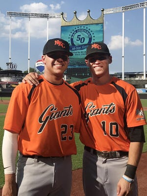 Brothers Jake, left, and Jeremy Lufft, both Blue Springs High School graduates, pose before the 2018 Ban Johnson League All-Star Game at Kauffman Stadium. This season, Jeremy was the manager for the North Kansas City Apartments Giants, while Jake played and was among the league leaders in hitting.