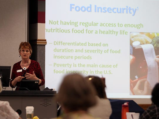 Debra Reed, a nutrition professor at Texas Tech University, speaks at the Together at the Table West Texas Hunger Summit on Thursday, March 23, 2017, in San Angelo.