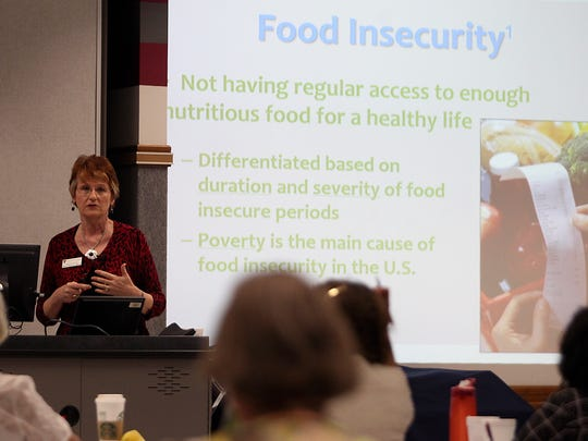 Debra Reed, a nutrition professor at Texas Tech University, speaks at the Together at the Table West Texas Hunger Summit on Thursday, March 23, in San Angelo.
