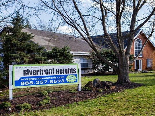 The leasing office of the Evergreen Apartments at Riverfront Heights near Elsmere on Monday afternoon.