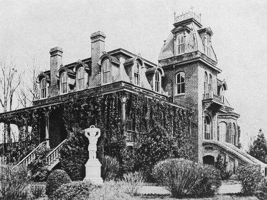 """Benjamin Perry's elaborate Sans Souci mansion stood on a hilltop above the Buncombe Road. As the clubhouse for the Sans Souci Country Club from 1905 until 1923, it was an elegant site for balls, teas and parties. It burned to the ground in the late 1920s. (Photo from B. F. Perry's  """"Eminent American Statesmen,"""" 1887.)"""