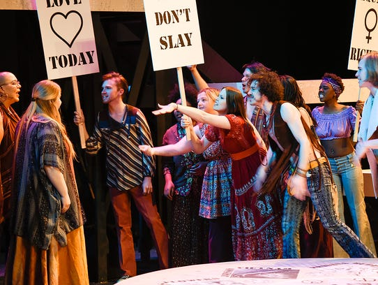 St. Cloud State University students rehearse their