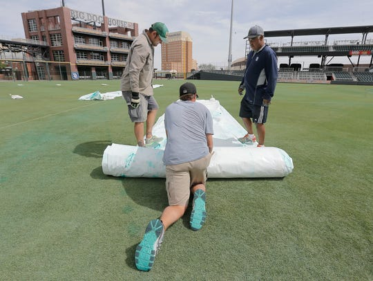 The El Paso Chihuahuas' field crew including Andrew