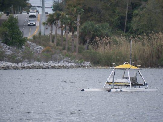 IHMC researcher David Fries' automated drone on Bayou Texar on Tuesday.
