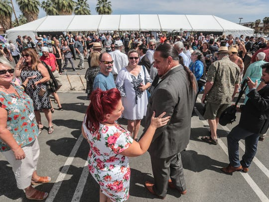 Jeff Grubbe, chairman of the Agua Client Band of Cahuilla Indians, greet guests at the  Agua Caliente Cultural Museum groundbreaking in Palm Springs on Friday, May 11, 2018.