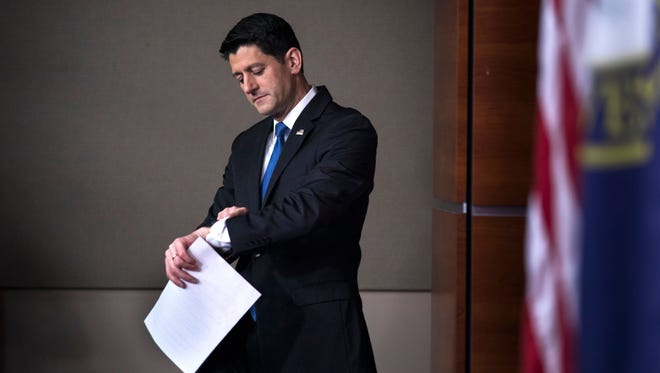 House Speaker Paul Ryan speaks to the media at his weekly press conference in the Capitol on Feb. 16, 2017.