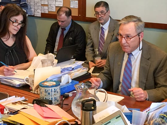Vermont Public Safety Commissioner Thomas Anderson advocates for saliva testing to detect impaired driving during a meeting of the House Judiciary Committee on Wednesday, Feb. 21, 2018.