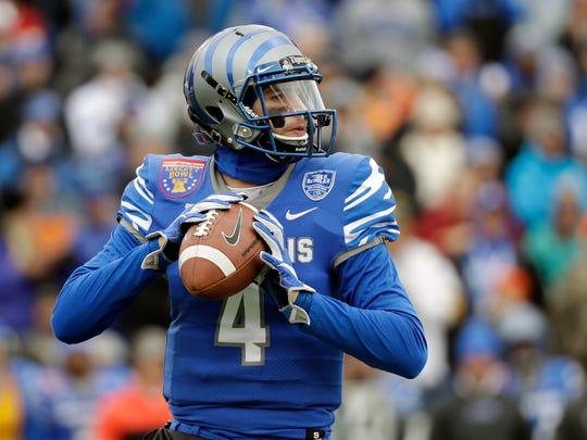 Memphis quarterback Riley Ferguson passes against Iowa State in the first half of the Liberty Bowl NCAA college football game Saturday, Dec. 30, 2017, in Memphis, Tenn. (AP Photo/Mark Humphrey)
