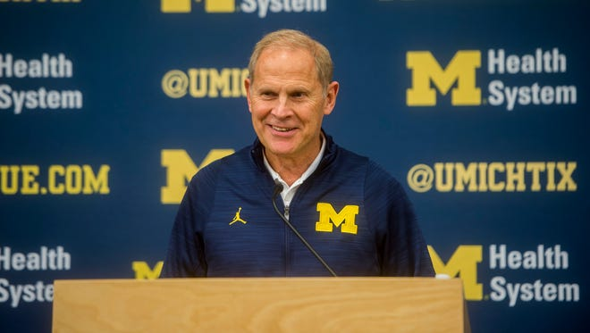Michigan coach John Beilein answers questions during Michigan Wolverines men's basketball media day in Ann Arbor on Oct. 3, 2016.