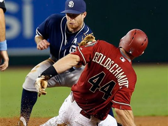 Arizona Diamondbacks Paul Goldschmidt (44) steals secondbase in front of San Diego Padres second baseman Cory Spangenberg in the second inning during a baseball game, Sunday, June 21, 2015, in Phoenix.