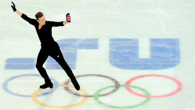 Jeremy Abbott during a training session in advance of the Sochi 2014 Winter Olympic Games.