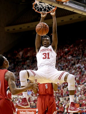 Indiana Hoosiers center Thomas Bryant (31) slams down two points on Austin Peay Governors in the first half of their game.  The Indiana Hoosiers hosted the Austin Peay Governors Monday, November 16, 2015, evening at Assembly Hall in Bloomington IN.