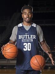 Butler University junior forward Kelan Martin poses for a portrait during media day at Hinkle Fieldhouse, Wednesday, October 26, 2016.
