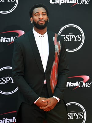July 12, 2017; Los Angeles, CA, USA; Pistons center Andre Drummond arrives for the 2017 ESPYS at Microsoft Theater.