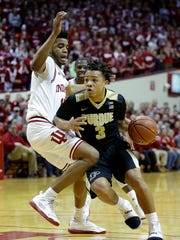 Carsen Edwards (right) and Juwan Morgan will see each other just once in the regular season this year.