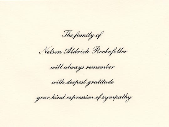 Card of thanks from the family of Nelson Rockefeller.