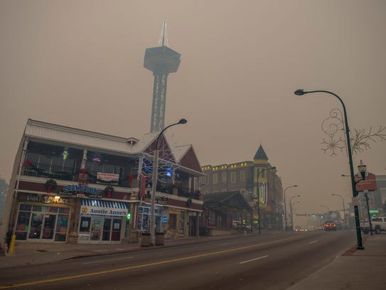 Thick smoke from area forest fires covers the Parkway