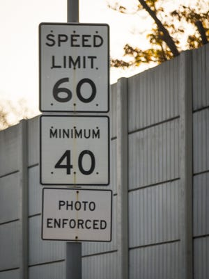 Traffic laws are photo enforced along Interstate Highway 235 in Des Moines, shown here Friday, Nov. 4, 2016.