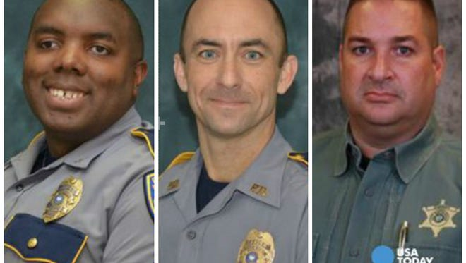 Baton Rouge officers Montrell Jackson and Matthew Gerald and East Baton Rouge Sheriff's Department deputy Brad Garafola were killed July 17 in an ambush attack in Baton Rouge.