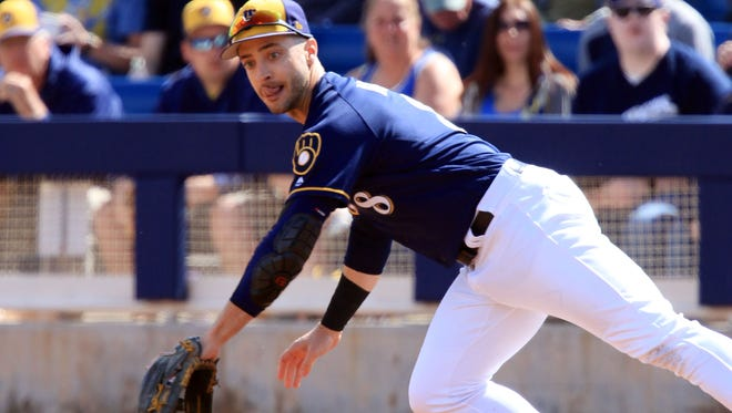 Ryan Braun gets his first taste of playing first base.