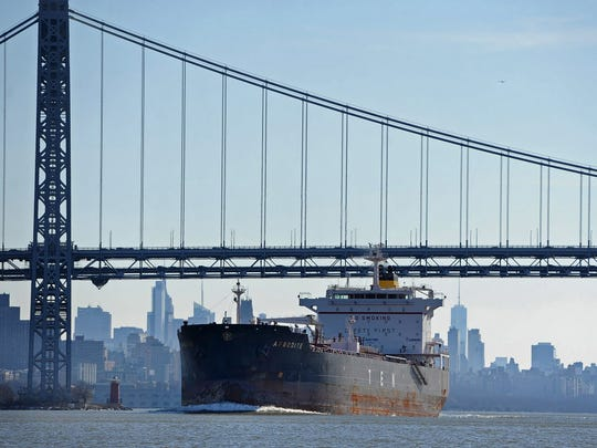 The oil tanker Afrodite sails up the Hudson River last year on its way to Albany.