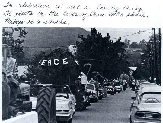 Homecoming parade at Bridgewater College, 1972.