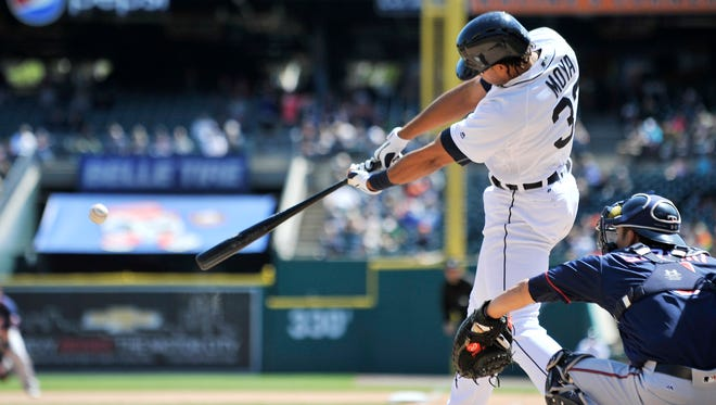Tigers designated hitter Steven Moya singles to score Miguel Cabrera in the seventh inning to make it  6-1 Tigers.