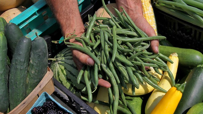 Green beans at the farmers market.