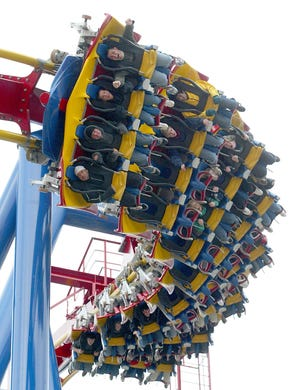 2003: The Superman Ultimate Flight roller coaster opens at Six Flags Great Adventure.