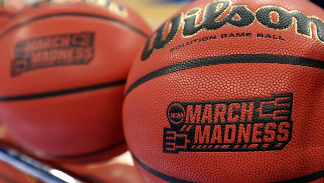 A picture of the NCAA  Marck Madness basketballs during practice prior to the first round of the NCAA Tournament at Amway Center in Orlando.