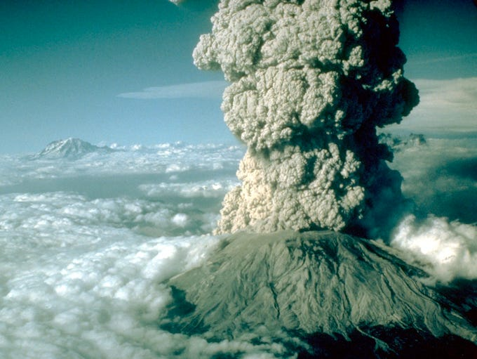 The eruption of Mt. St. Helens on 5/18/80 at 8:22 a.m.