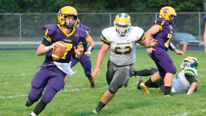 Hagerstown's Owen Golliher runs the ball. Hagerstown defeated Northeastern 28-0 in a football game Friday, Sept. 8, 2017.