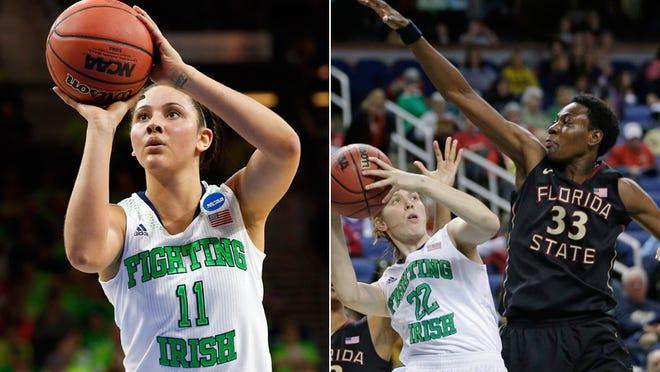 Natalie Achonwa (11), the ninth pick in the WNBA draft, by the Indiana Fever. Natasha Howard (33), the fifth pick in the draft, by the Fever