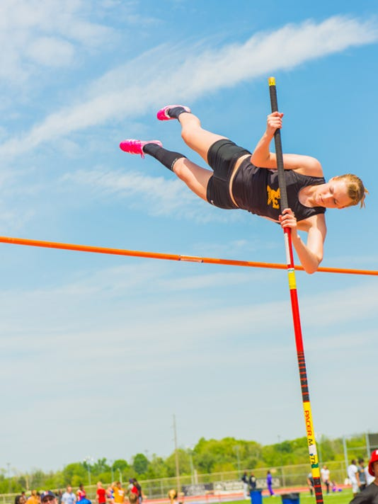 Delone Catholic's Grace Riedel earned silver in the pole vault at Friday's District 3 Class AA track and field championships at Shippensburg University. She advances to next week's state meet.