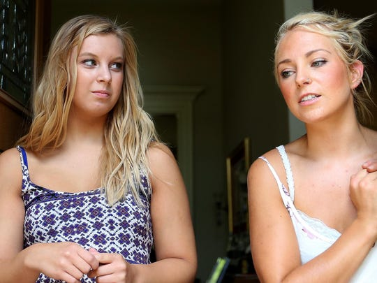 Sisters Hannah Pilant, 19, left, and Bailey Pilant, 21, speak about what they heard and saw following the fatal shooting of a male neighbor in West Salem on Wednesday, July 15, 2015. Photographed on Thursday, July 16, 2015.