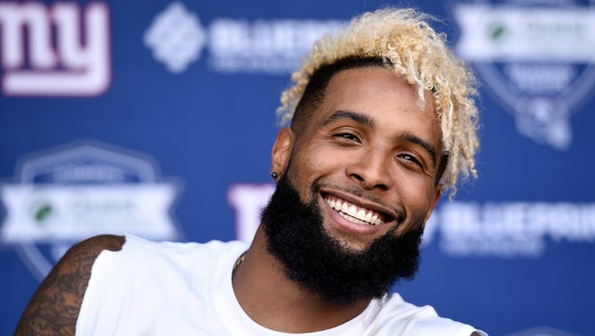 New York Giants wide receiver Odell Beckham Jr. talks to the media after the first day of mini camp in East Rutherford, NJ on Tuesday, June 13, 2017.