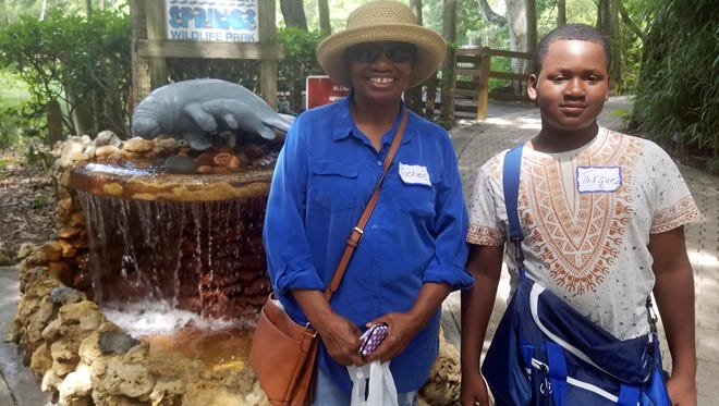 GaP family Genice Harris and her grandson Tarquez enjoy a day at Homosassa Springs.