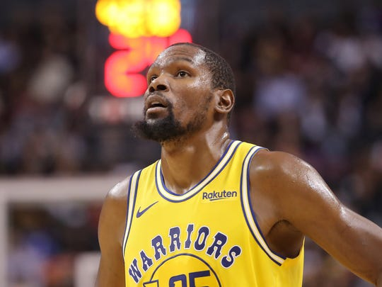 Nov 29, 2018; Toronto, Ontario, CAN; Golden State Warriors forward Kevin Durant (35) during their game against the Toronto Raptors at Scotiabank Arena. The Raptors beat the Warriors 131-128 in overtime. Mandatory Credit: Tom Szczerbowski-USA TODAY Sports